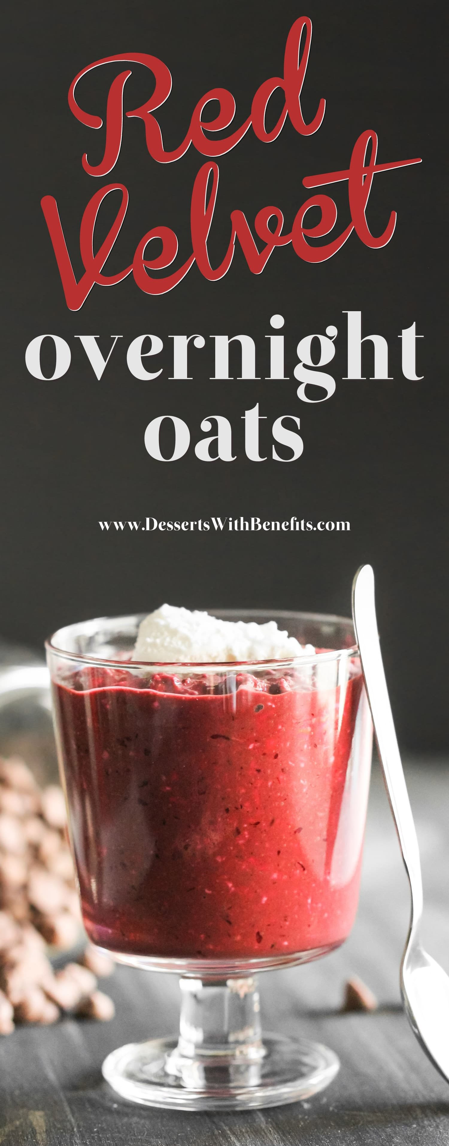 Have dessert for breakfast with these Healthy Red Velvet Overnight Dessert Oats! This single serving recipe is all natural (no artificial food dyes here) sugar free, high fiber, gluten free, dairy free, and vegan. Satisfy your morning sweet tooth while getting in some nutrition! Healthy Dessert Recipes with low calorie, low fat, low carb, and high protein options at the Desserts With Benefits Blog.