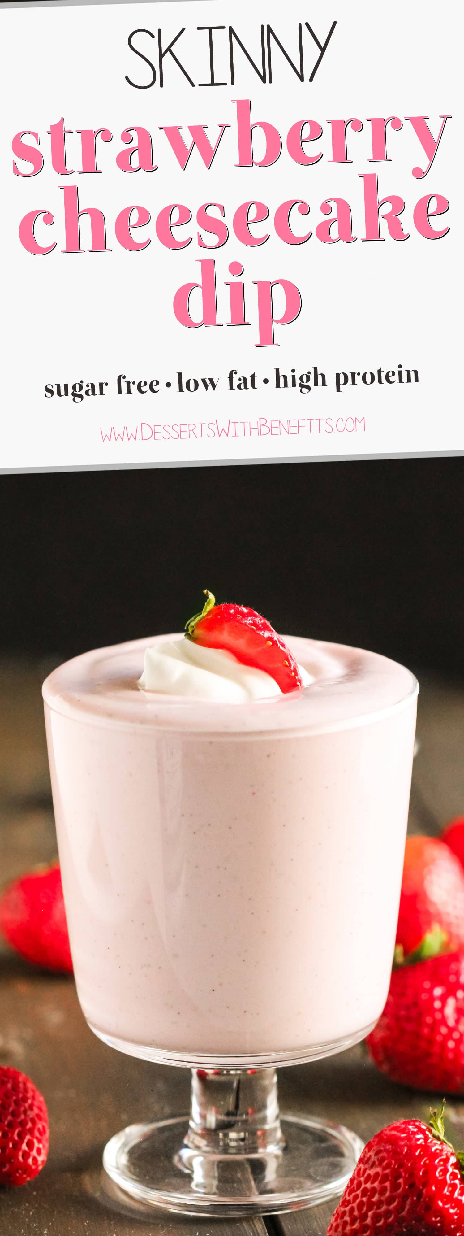 This Healthy Strawberry Cheesecake Dip is super creamy and packed with fresh strawberry puree. It has all the flavor of cheesecake in the form of a dip! It has only 70 calories, 1.5g fat, and NO added sugar! Perfect for dipping graham crackers, strawberries, or spoons alone. Healthy Dessert Recipes with sugar free, low calorie, low fat, low carb, high protein, gluten free, dairy free, vegan, and raw options at the Desserts With Benefits Blog (www.DessertsWithBenefits.com)