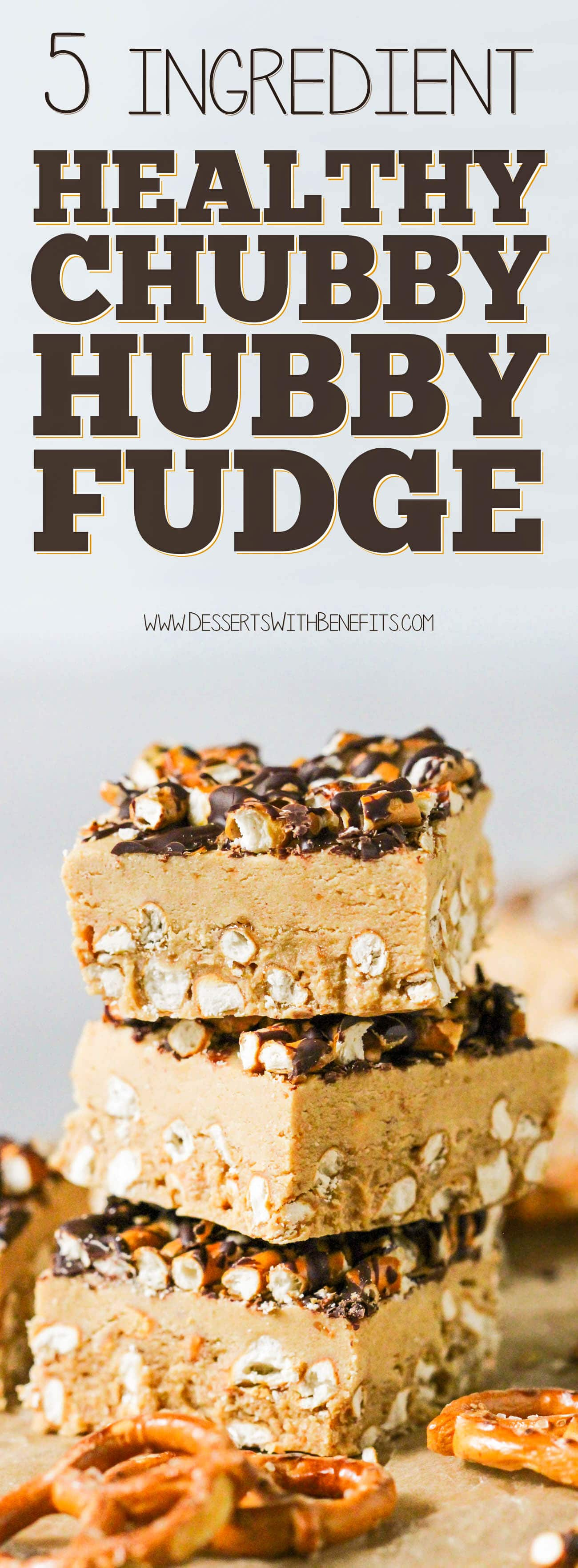 Healthy Chubby Hubby Fudge (Chocolate Peanut Butter Pretzel Fudge) -- refined sugar free, high protein, and gluten free optional.