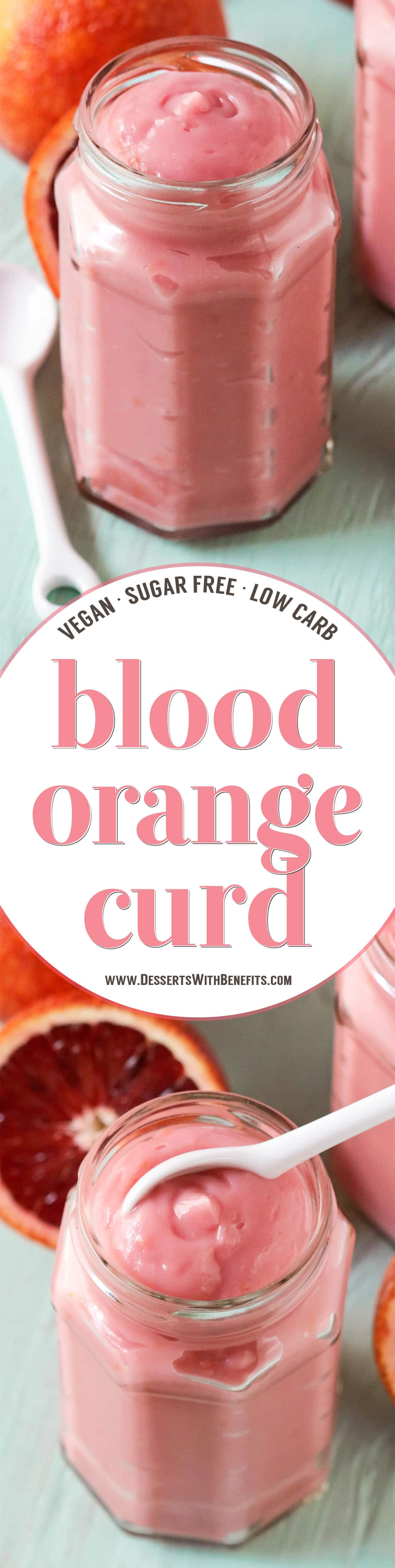 This Healthy Blood Orange Curd is ultra creamy, sweet, tart, and delicious. You'd never know it's sugar free, low carb, low fat, gluten free, dairy free, and vegan! Scoop it over yogurt, layer it in parfaits, spoon some over Vanilla Ice Cream, or dig in straight up with a spoon.