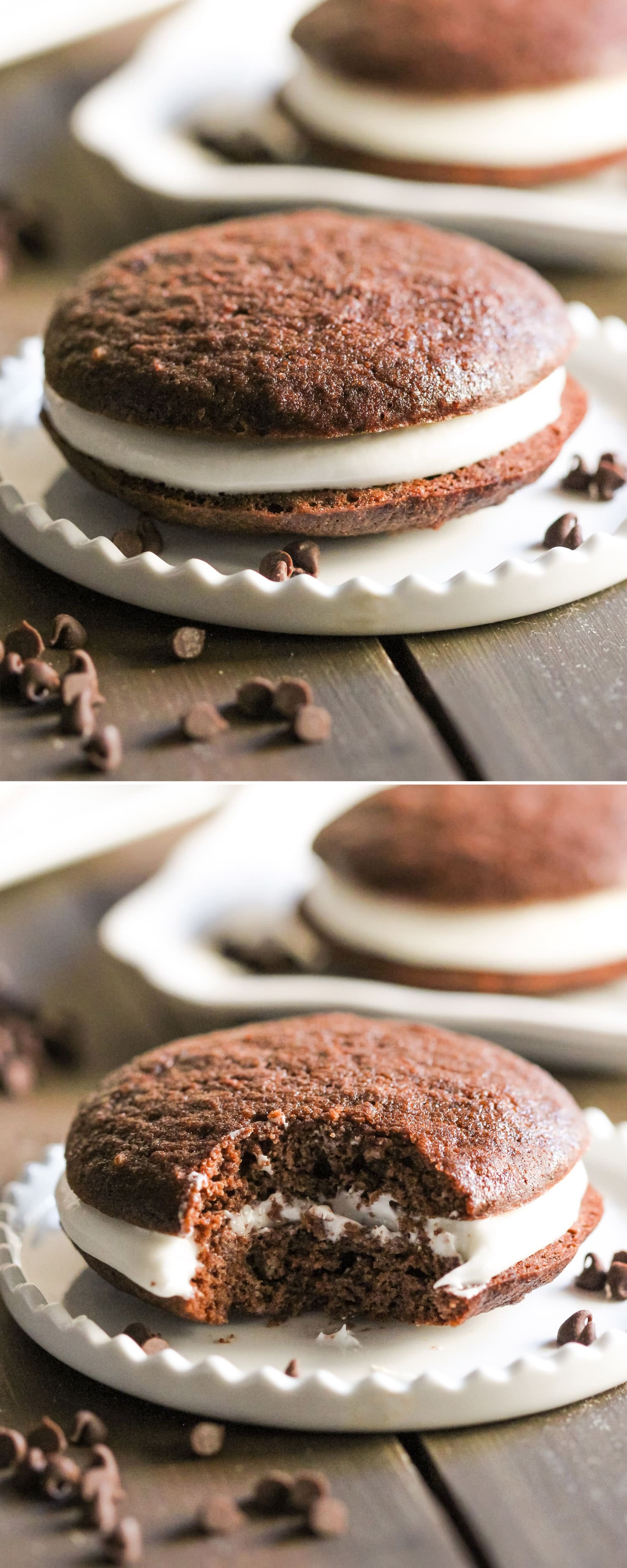 These Healthy Chocolate Whoopie Pies are so soft, light, and fluffy (like a hybrid between a cake and cookie), that you'd never ever know they're sugar free, high protein, gluten free, and dairy free too! Healthy Dessert Recipes with sugar free, low fat, gluten free, and vegan options at the Desserts With Benefits Blog (www.DessertsWithBenefits.com)