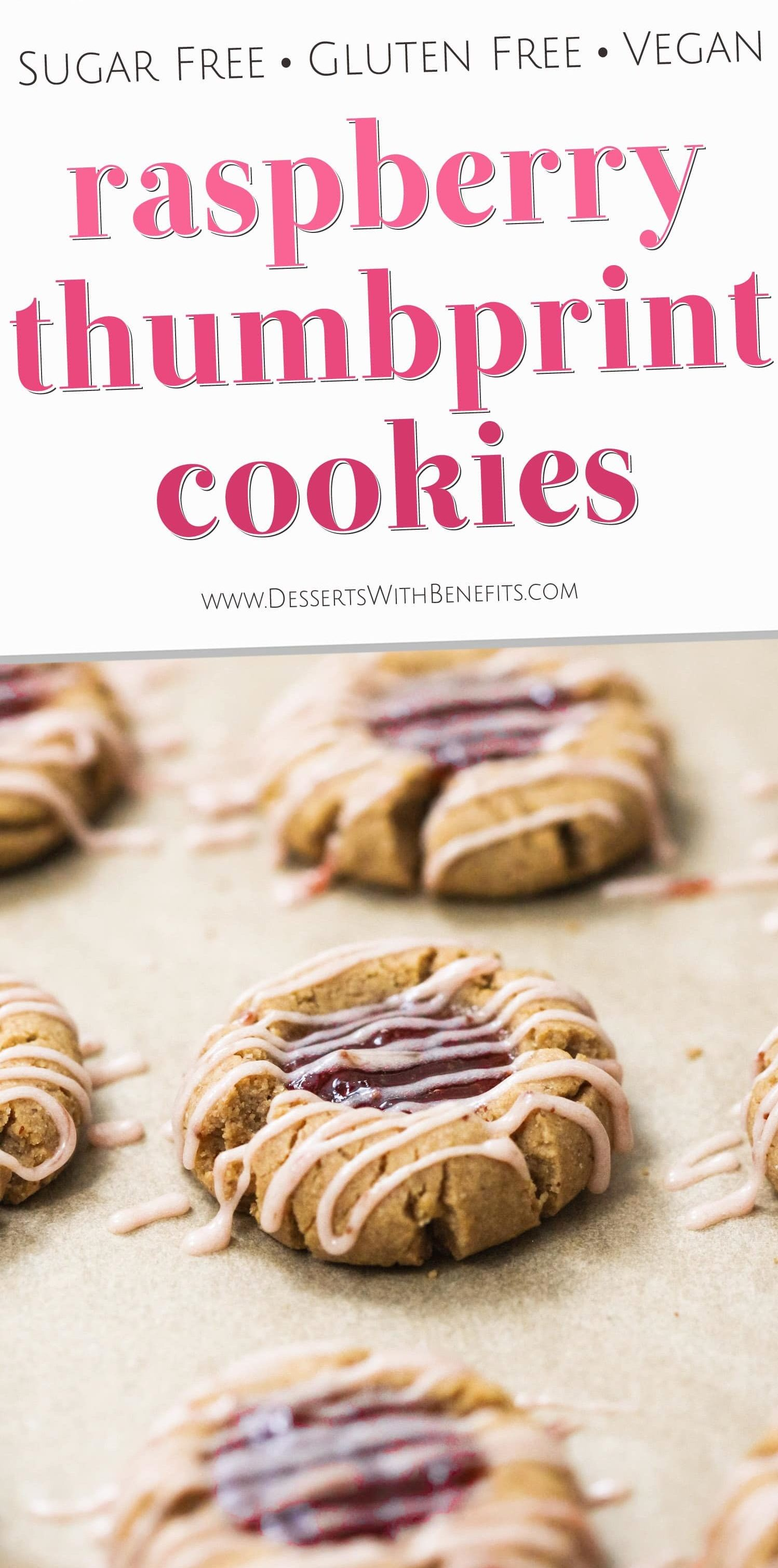 These Healthy Raspberry Thumbprint Cookies are so soft, chewy, and delicious (not to mention, easy tomake!), you'd never know they're refined sugar free, gluten free, dairy free, and vegan too! Healthy Dessert Recipes with sugar free, low fat, gluten free, and vegan options at the Desserts With Benefits Blog (www.DessertsWithBenefits.com)