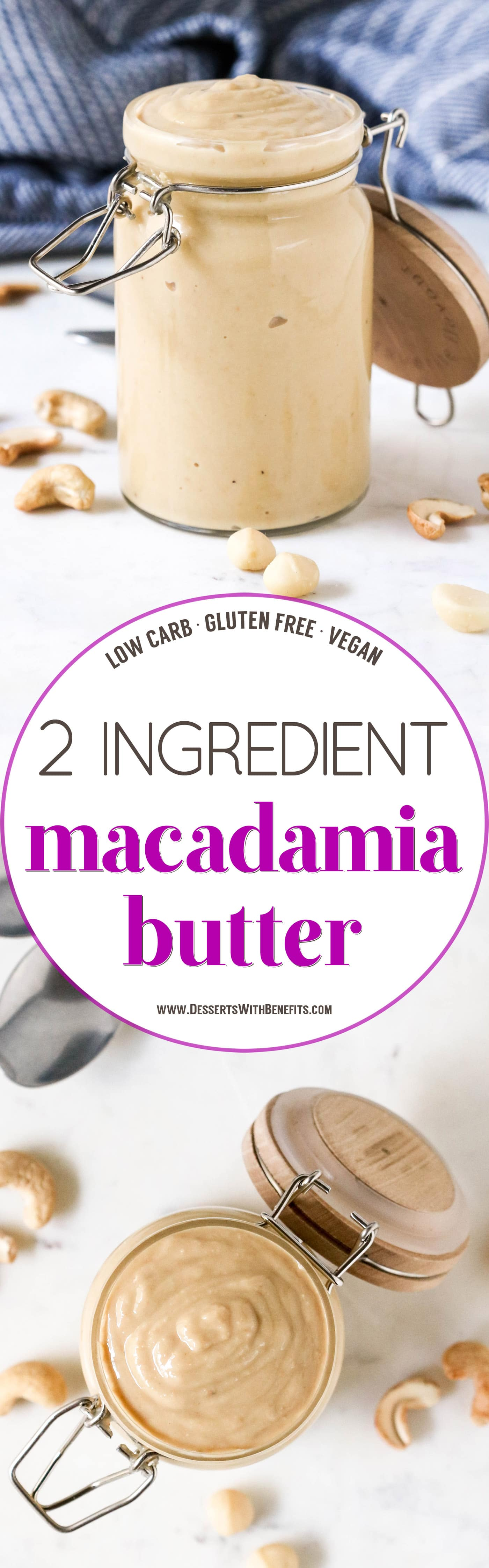 You can make Macadamia Butter AT HOME in as little as 3 minutes! It's so rich, buttery, smooth, and creamy, you'll wonder why it's not as popular as peanut butter and almond butter. You're 3 minutes away from the silkiest, drippiest, most flavorful Homemade Macadamia Butter in all the land (all natural, sugar free, low carb, gluten free, vegan)