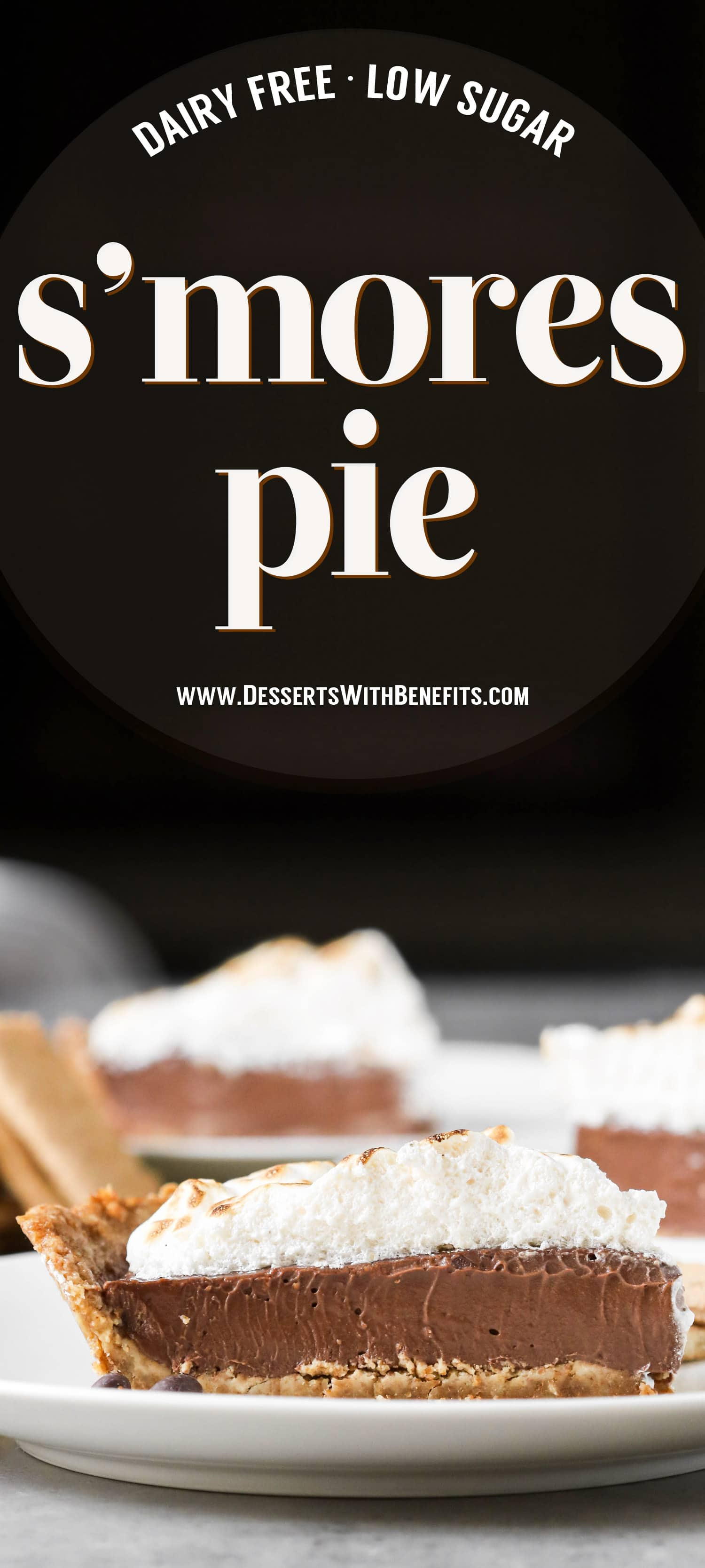 This S'mores Pie has a deliciously comforting graham cracker crust, a rich and creamy chocolate filling, and a homemade marshmallow fluff topping. And it's dairy free and low in sugar! Healthy Dessert Recipes at the Desserts With Benefits Blog