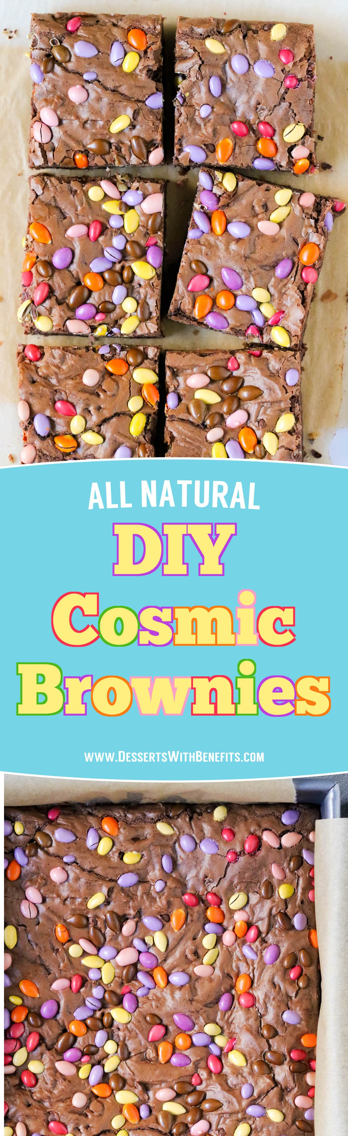 These all natural Homemade Cosmic Brownies are dense, fudgy, chewy, and made with just 4 ingredients! It's hard to believe this easy recipe is better for you than the storebought version -- no preservatives or artificial ingredients whatsoever!