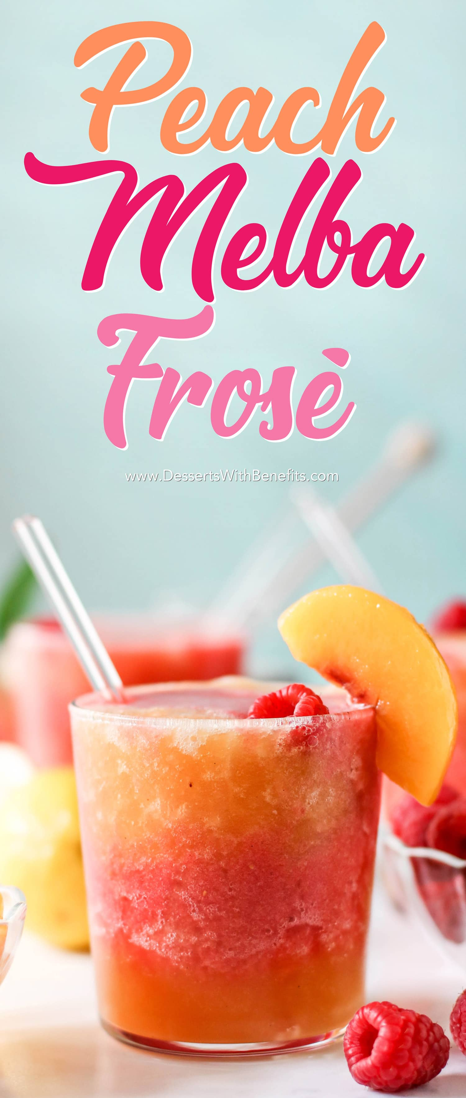 This Peach Melba Frosé is full of sweet peaches, tart raspberries, and good ol' pinot noir rosé (and no sugar added)! You only 5 ingredients to make this easy frose recipe. This is the perfect frosty, boozy treat!