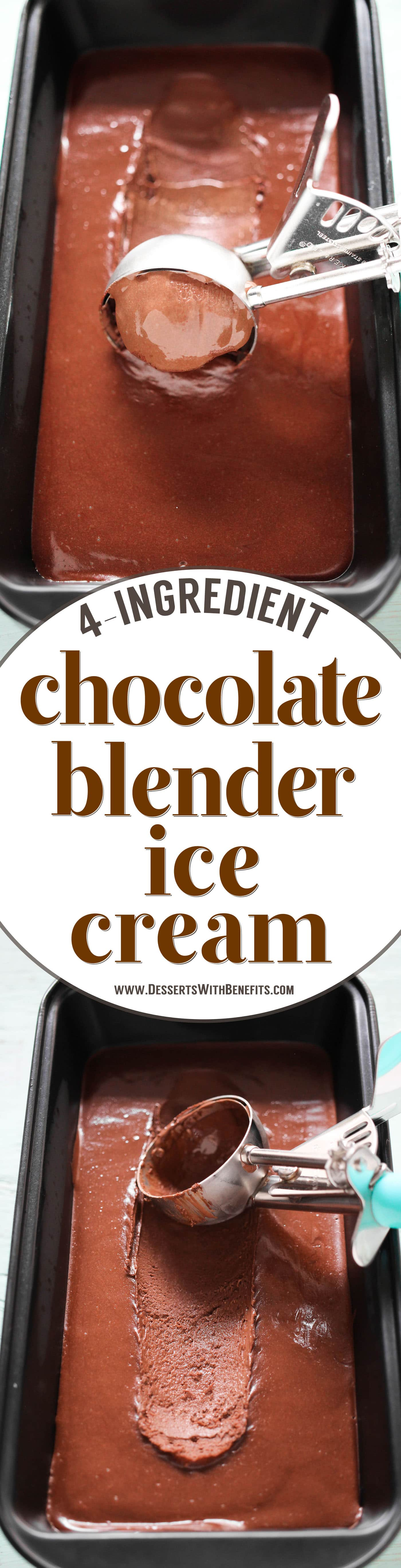 This 4-ingredient No-Churn Chocolate Fudge Ice Cream is ultra creamy, incredibly rich, and perfectly sweet. Made in a blender too, so no ice cream maker required! It's refined sugar free, packed with protein, fiber, and healthy fats. This is ice cream at its best without the sugar, heavy cream, and eggs!