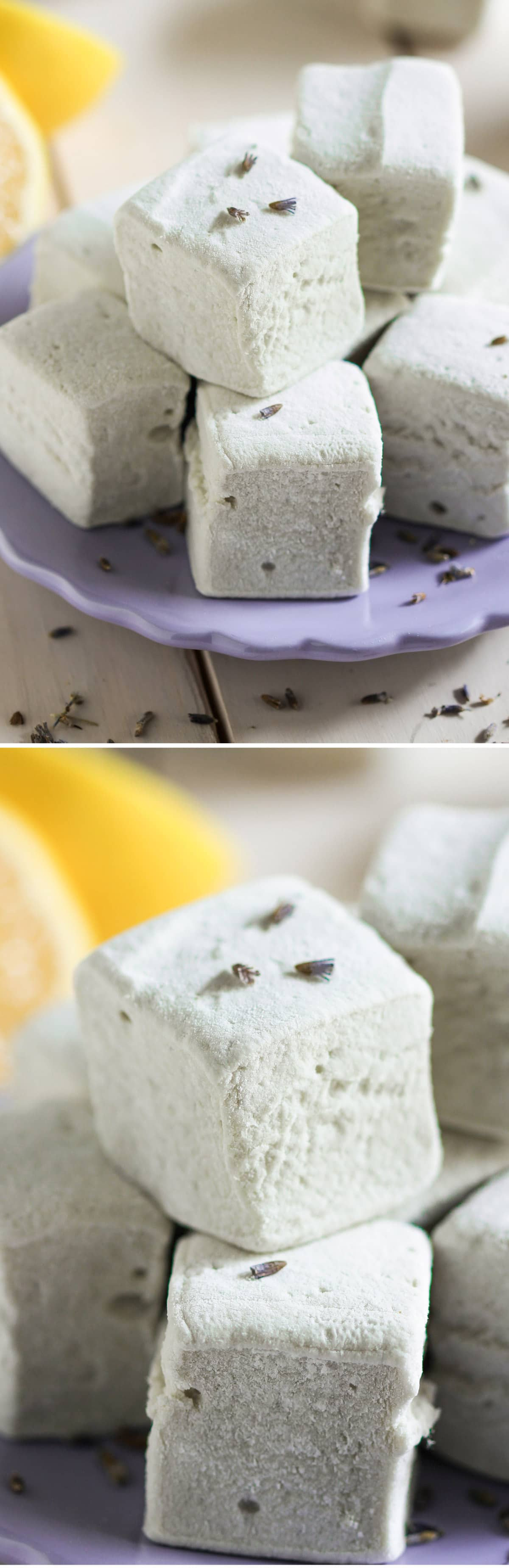 Healthy Lemon Lavender Marshmallows (all natural, no corn syrup)