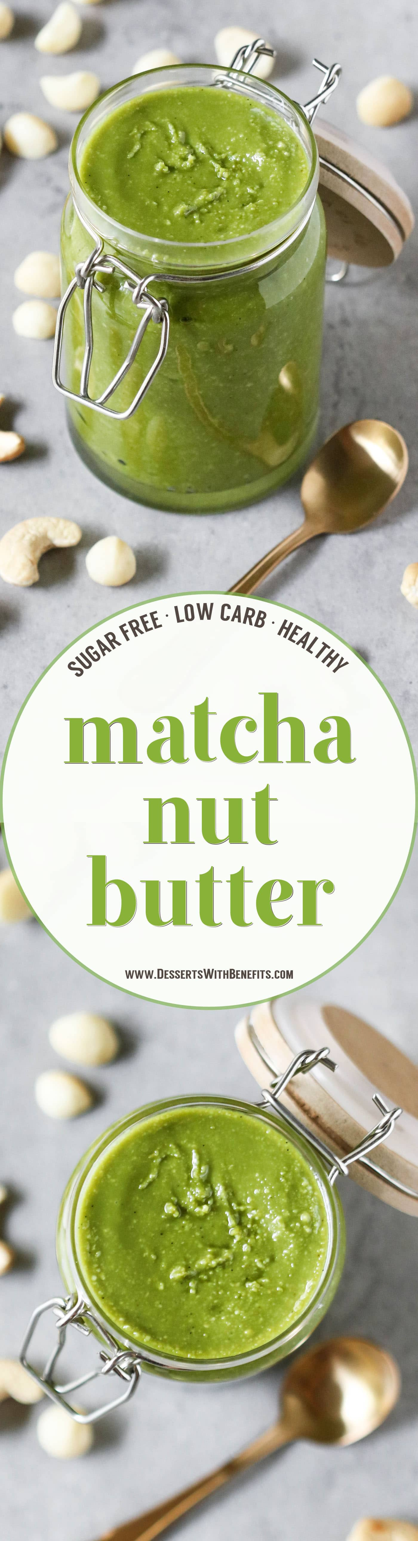 This 5-ingredient Healthy Matcha Green Tea Nut Butter is earthy from the matcha and rich and buttery from the macadamia nuts and cashews. Super easy, creamy, and addictive, yet sugar free, low carb, gluten free, dairy free, and vegan. It's just begging to be dug into with a spoon!