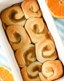 These easy five ingredient Orange Sweet Rolls are so soft, sweet, and fluffy, you'd never know they're low fat, dairy free, and vegan with no sugar added!