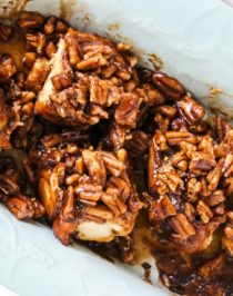 You'll wow everyone with these Sticky Buns! They're soft, fluffy, sweet, perfectly spiced with cinnamon, and topped with caramel-pecan goodness.No one will believe these are dairy free, vegan, and low in sugar.