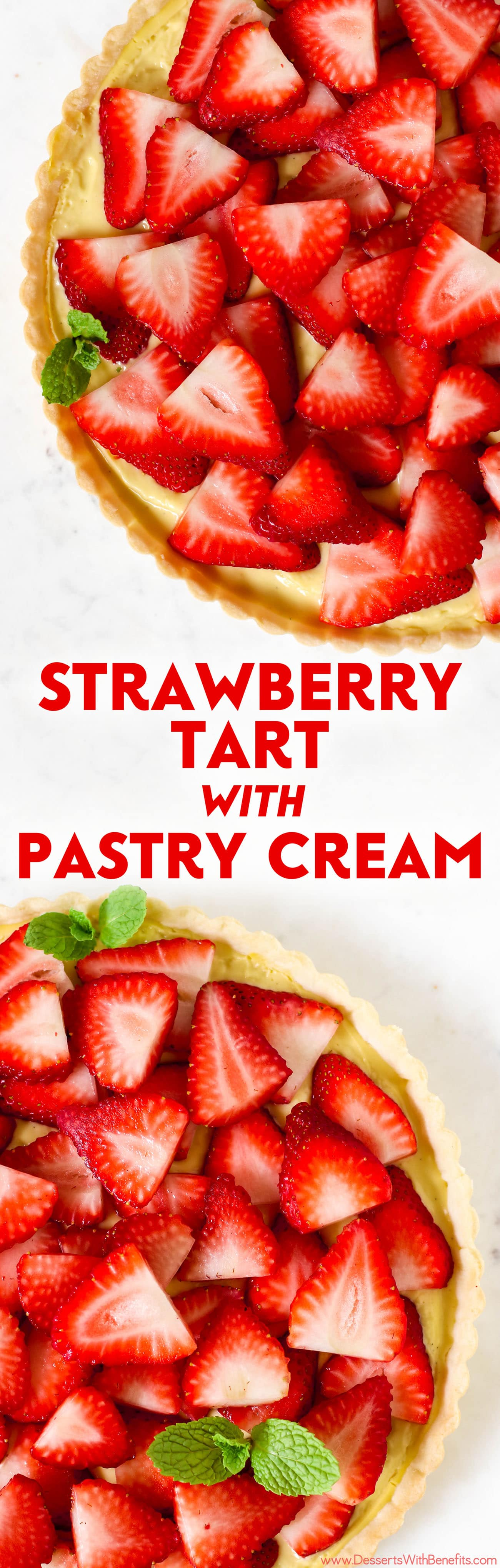 This beautiful Strawberry Tart has a rich and flavorful pie crust, the creamiest, vanilla bean-infused Pastry Cream, and is topped off with sweet, freshly sliced strawberries. It's hard to believe this delicious tart is dairy free and low sugar too!