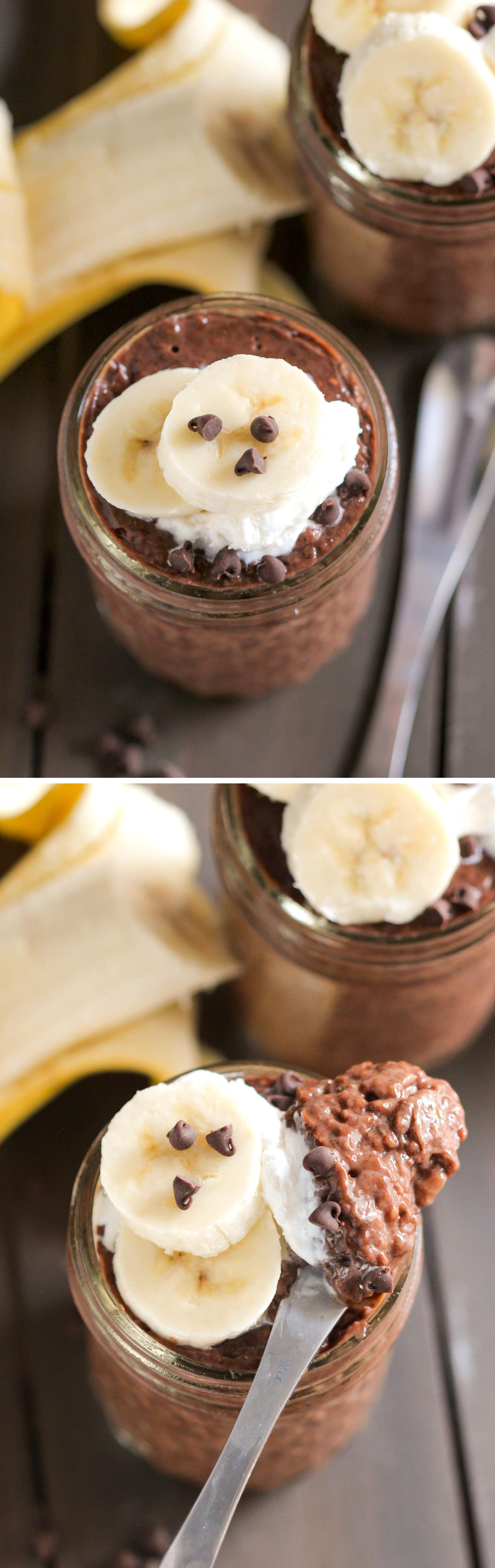 This Chocolate Banana Chia Seed Pudding recipe is perfectly sweet, deliciously chocolatey, and surprisingly filling! Makes for a great breakfast because it's full of healthy ingredients such as chia seeds (high in omega-3 fatty acids) and bananas (high in potassium), and it also happens to be refined sugar free, high fiber, gluten free, and vegan too! Healthy Dessert Recipes at the Desserts With Benefits Blog (www.DessertsWithBenefits.com)