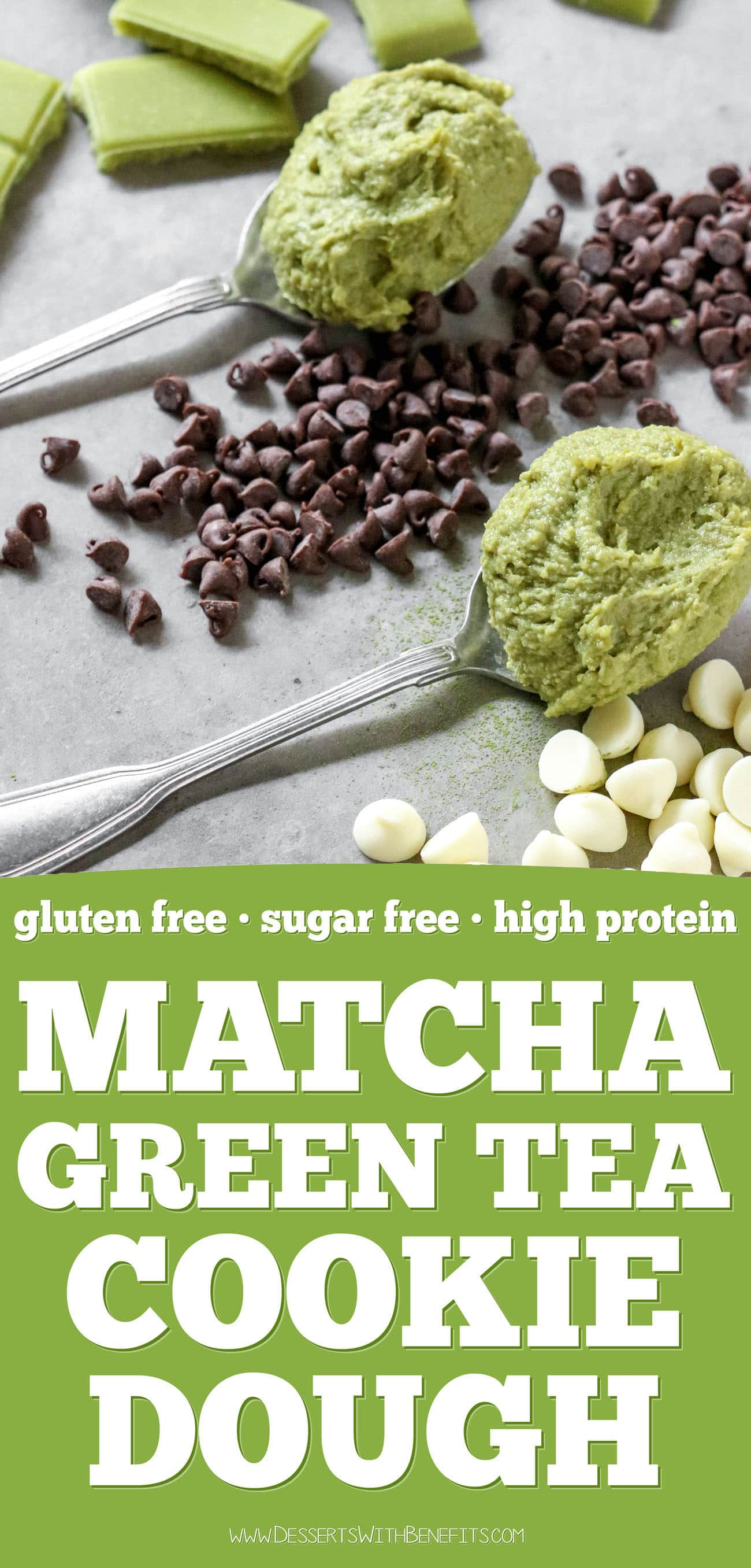 This Matcha Cookie Dough is fudgy, sweet, and sinful-tasting, yet it's healthy! Made with nut butter, oats, protein powder (optional), and a secret ingredient. You'd never know this is sugar free, gluten free, high protein, and high fiber too!