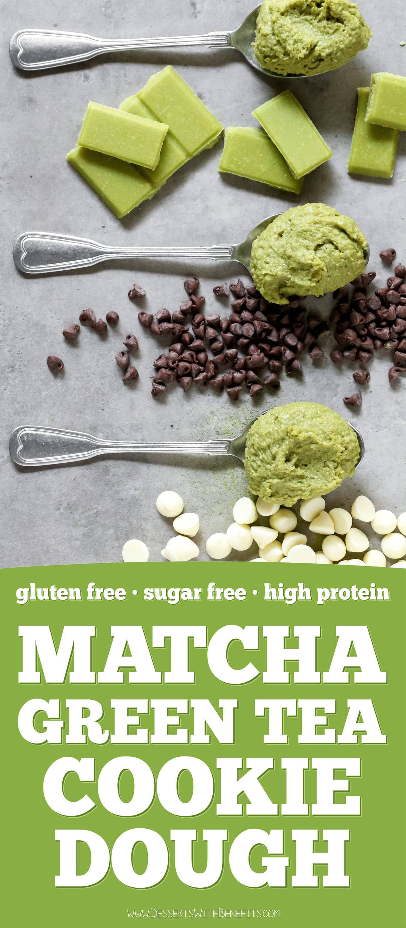 This Matcha Green Tea Cookie Dough is fudgy, sweet, and sinful-tasting, yet it's healthy! Made with nut butter, oats, protein powder (optional), and a secret ingredient. You'd never know this is sugar free, gluten free, high protein, and high fiber too!