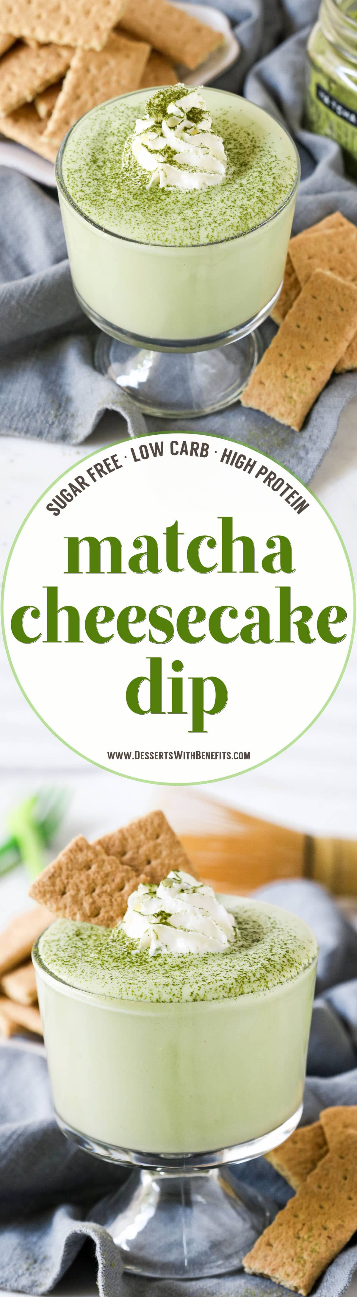 This 100-calorie Matcha Green Tea Cheesecake Dip is ultra smooth, creamy, sweet, and satisfying. It tastes just like matcha cheesecake batter, except this version is sugar free, low carb, low fat, and high protein!  Only five ingredients and a few minutes needed to whip this together -- you'll be guilt-free snacking in no time!