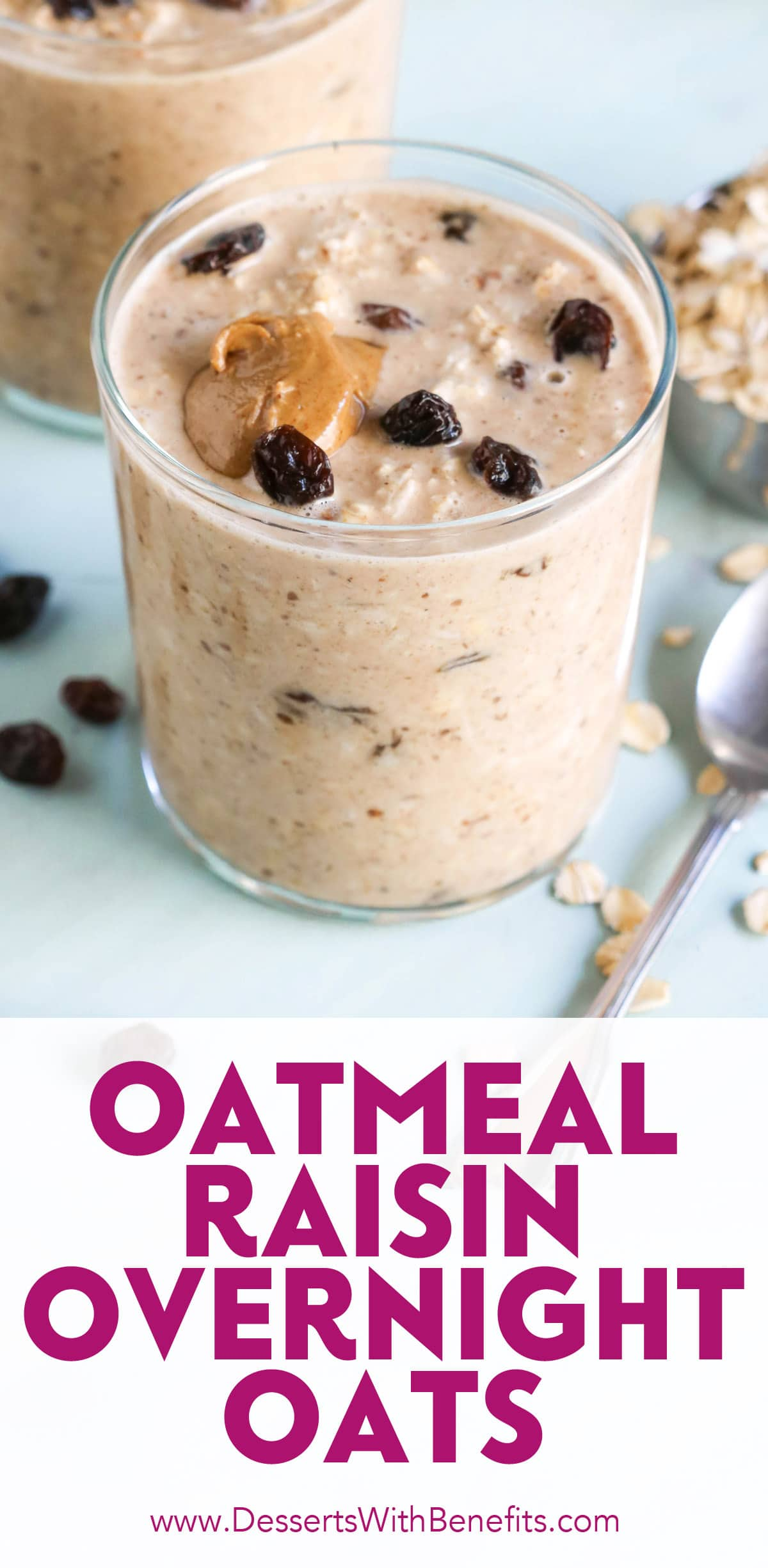 These Oatmeal Raisin Cookie Overnight Dessert Oats have all the flavor of oatmeal raisin cookies but in oatmeal form, and without the butter, oil, and sugar! Gluten free and vegan, and made with whole grain oats, nut butter, and a hint of vanilla and cinnamon.
