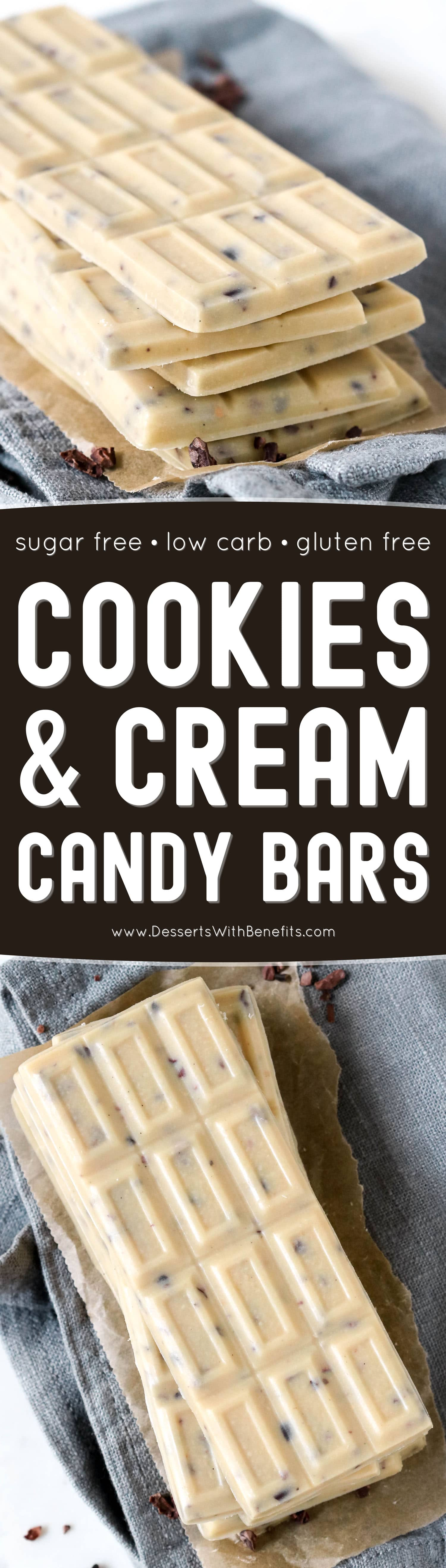 Just like the store-bought version, these from-scratch Cookies and Cream Candy Bars start with a smooth, creamy, and sweet white chocolate base, which is studded with crunchy chocolatey bits throughout. One bite and you'd never know these are sugar free, low carb, keto, and gluten free too!