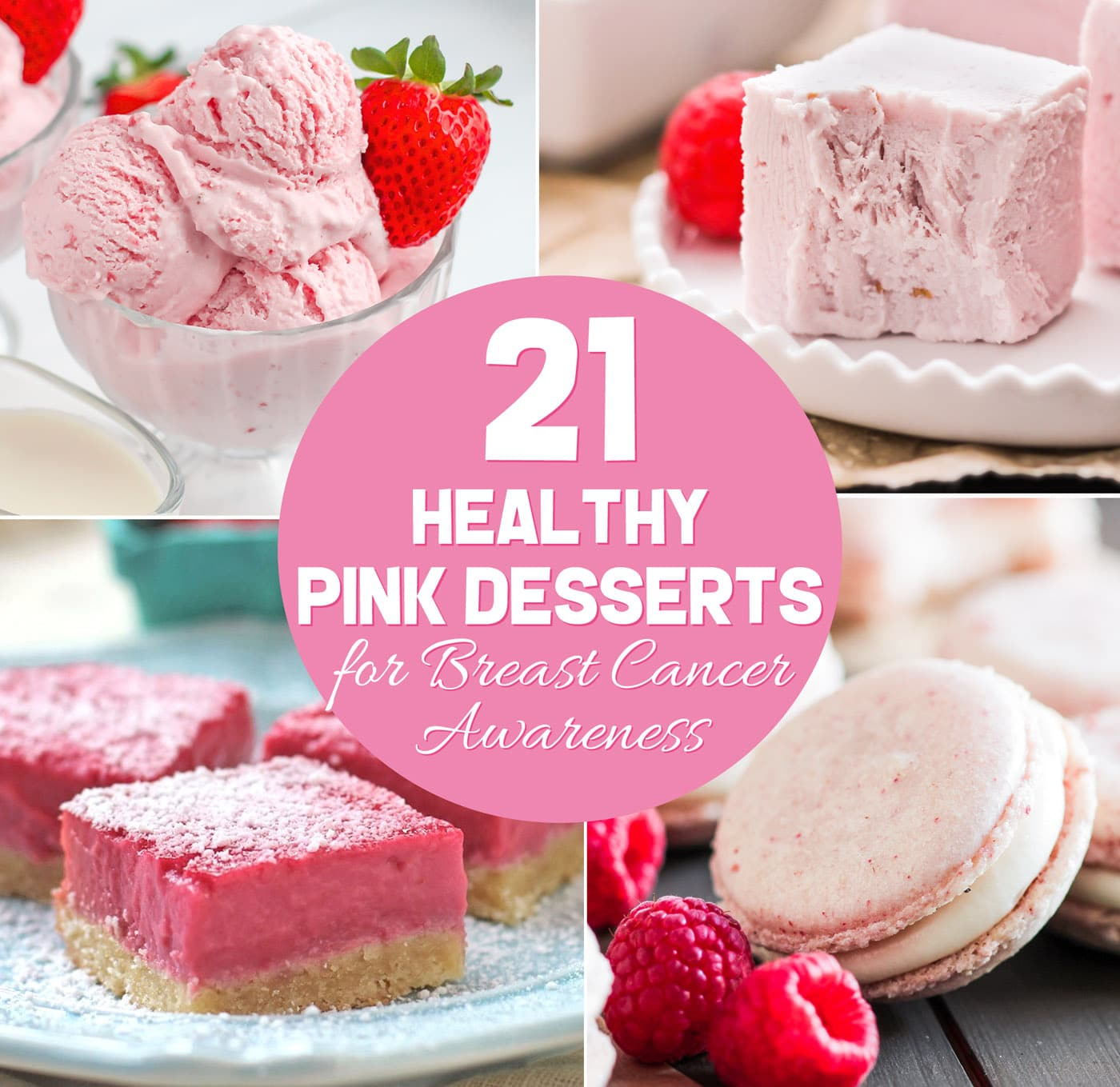 Have a pink October to honor Breast Cancer Awareness Month with these 21 healthy pink desserts! Make them for friends, family, neighbors, a school convention, fundraiser, or yourself! Cake to cupcakes to ice cream to milkshakes and more. Options for everyone: sugar free, low carb, low fat, high protein, high fiber, whole grain, gluten free, dairy free, vegan, paleo, or keto. #glutenfreedessert #vegandessert #highprotein #healthycake #glutenfreecake #sugarfreecake #lowcarbicecream #ketofudge