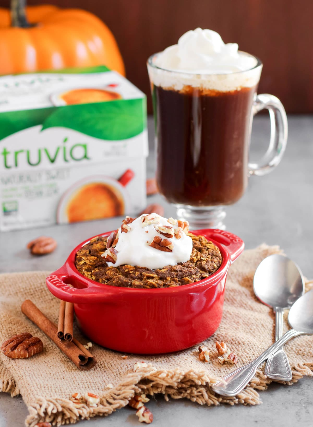 This super easy Healthy Single-Serving Pumpkin Pie Baked Oatmeal recipe is 100% whole grain, gluten free, and vegan, with no added sugar. It's dense, hearty, and filling, just like all baked oatmeal should be, and it's also packed full of pumpkin pie flavor, thanks to the canned pumpkin puree and pumpkin pie spice! #glutenfree #vegan #glutenfreevegan #pumpkinpie #bakedoatmeal #sugarfree #healthybreakfast #pumpkinpuree #pumpkinspice