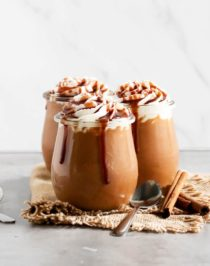 This 5-minute Healthy Caramel Pumpkin Pudding is sweet, creamy and packed full of pumpkin and caramel flavor. Best of all, it doesn't require any cooking, is refined sugar free, low fat, eggless, gluten free, and vegan too!