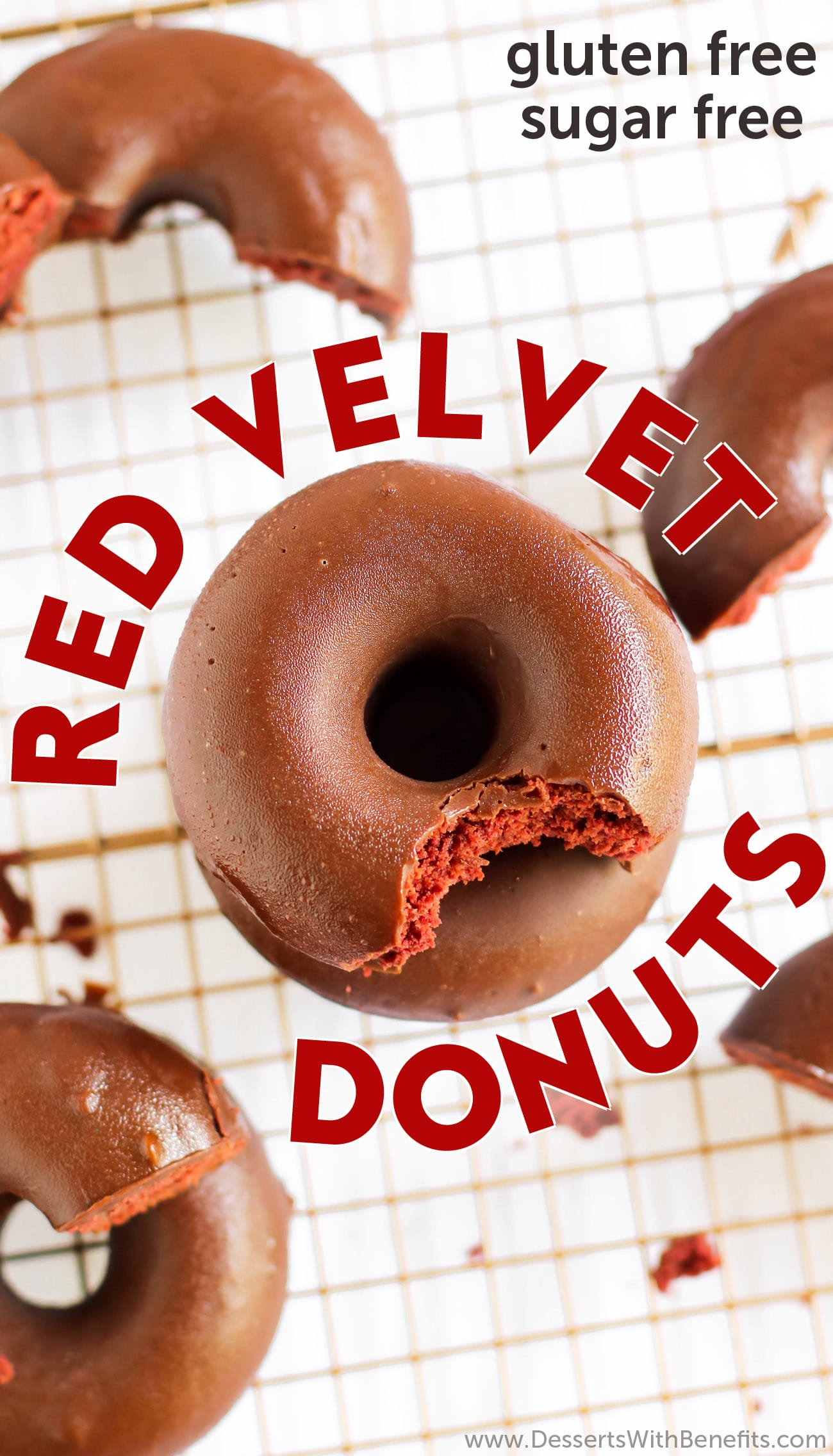 Red Velvet Cake + Donuts = Red Velvet Cake Donuts! They're sweet, moist, and ultra fluffy, they don't taste low calorie, low fat, sugar free, or gluten free at all, yet they are! They're ALL NATURAL and made without any artificial food coloring whatsoever! Can you guess the secret ingredient that makes these Red Velvet Donuts red? #glutenfreedonuts #glutenfreedessert #redvelvet #redvelvetcake #sugarfree #wholegrain #lowfat #lowcalorie #dairyfree