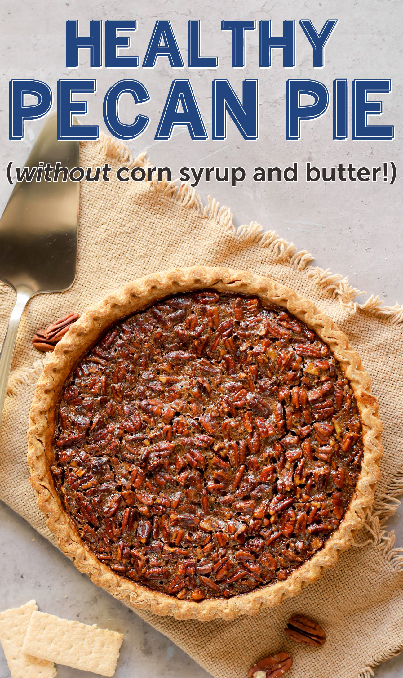 This Healthy Pecan Pie is so rich and decadent, every bite is pure joy -- you'd never know it's made without the corn syrup, white sugar, butter, and heavy cream!This freezer friendly Pecan Pie isan all natural, good-for-you dessert that is perfect for Thanksgiving, Christmas, birthdays, or any dayfor that matter!