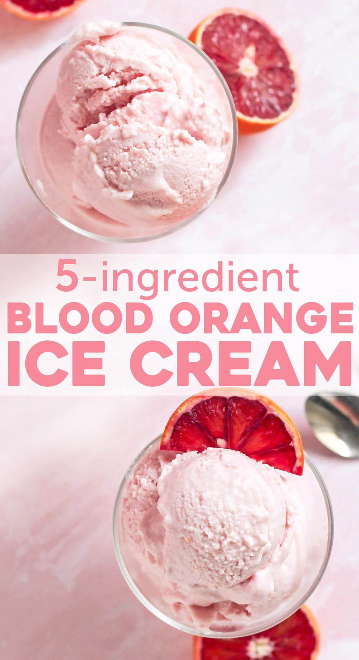 This 5-ingredient Blood Orange Ice Cream is sweet, tart, citrusy, and oh so satisfying. No need for the heavy cream, white sugar, artificial flavors, and artificial food dyes! This is the perfect ice cream to indulge in, guilt-free! Compared to store-bought ice cream, this is lower in calories, fat, and sugar, and higher in protein!