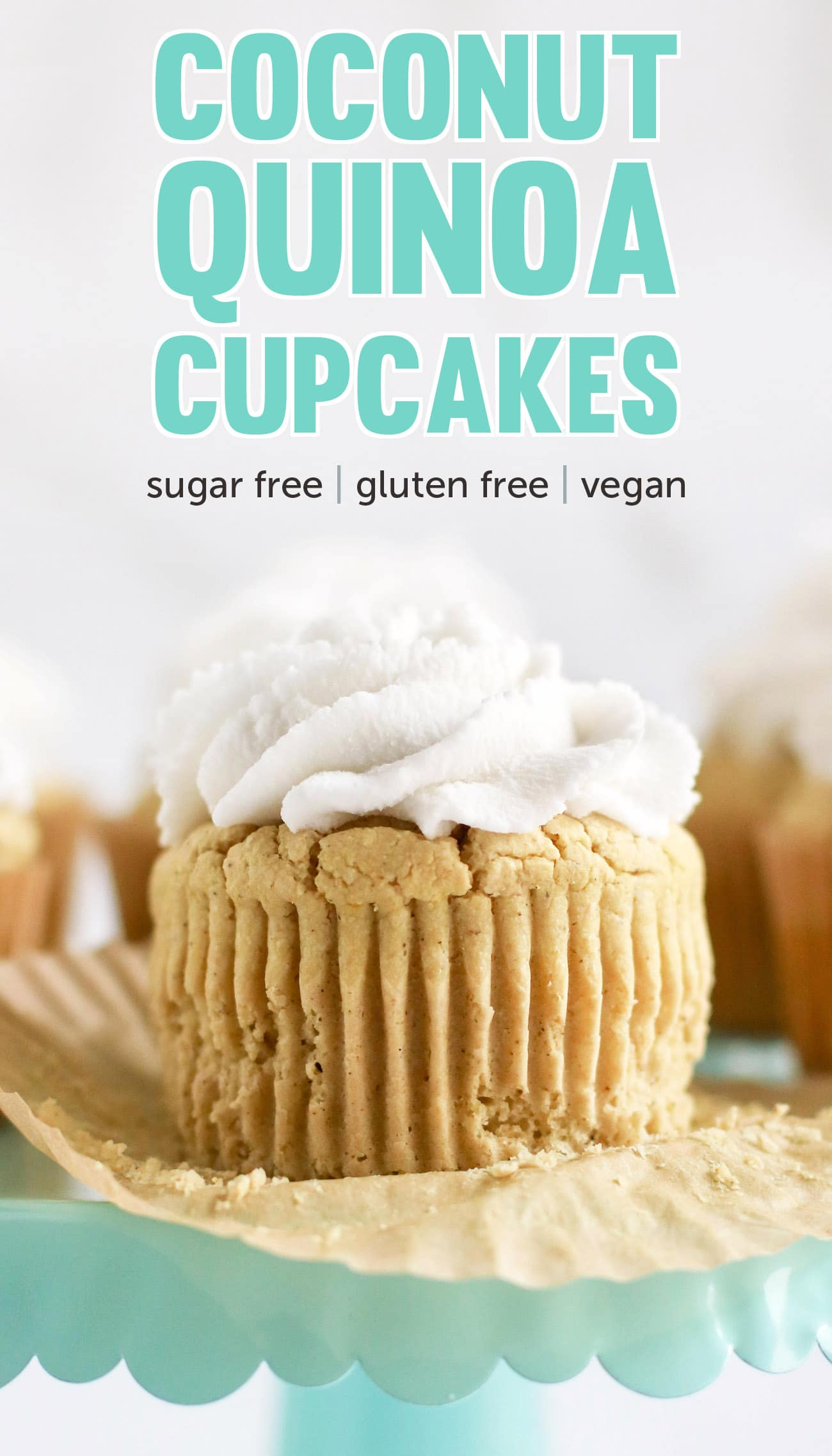 These Healthy Coconut Cupcakes are fluffy, springy, and moist! They're the most nutritious, guilt-free treat! Made with quinoa flour, sorghum flour, coconut yogurt, and coconut milk, so they're gluten free, dairy free, vegan, and sugar free!