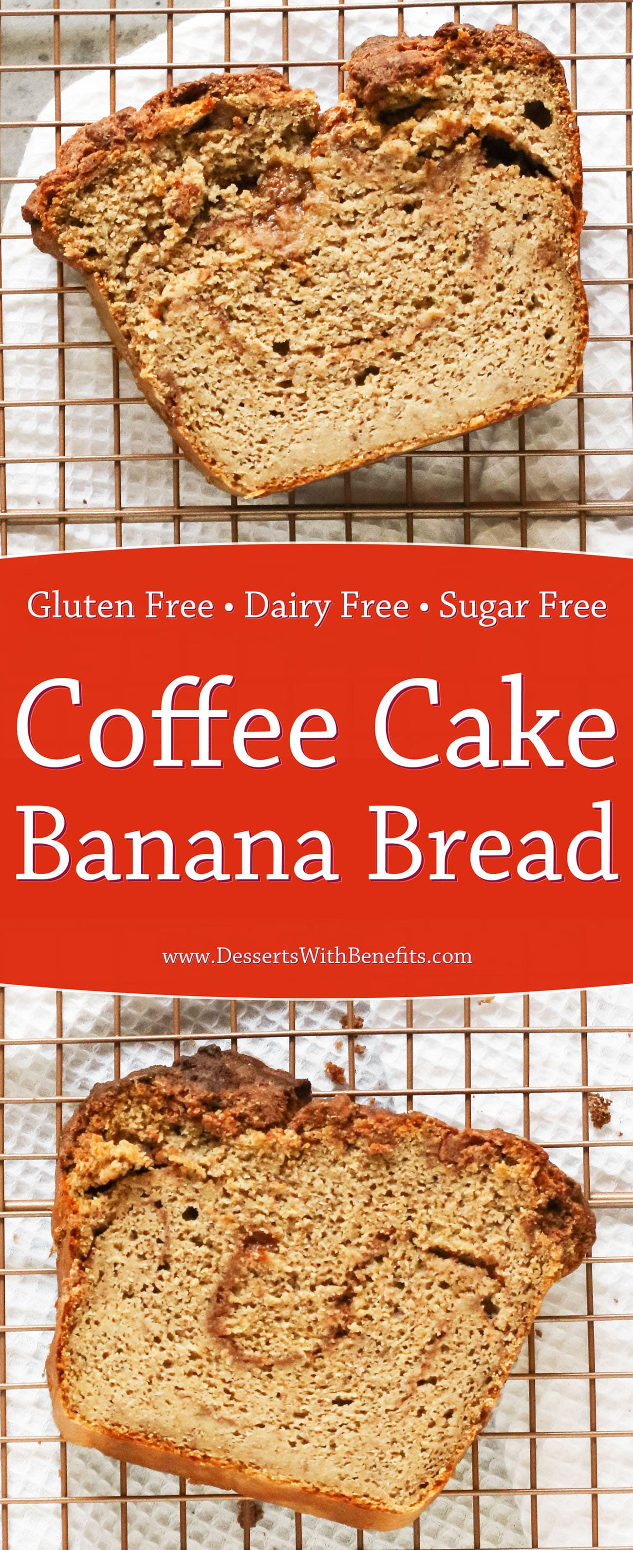 This super moist Coffee Cake Banana Bread is two classic breakfast treats mixed into one, and made healthy, high protein, high fiber, gluten free, dairy free, and sugar free too!