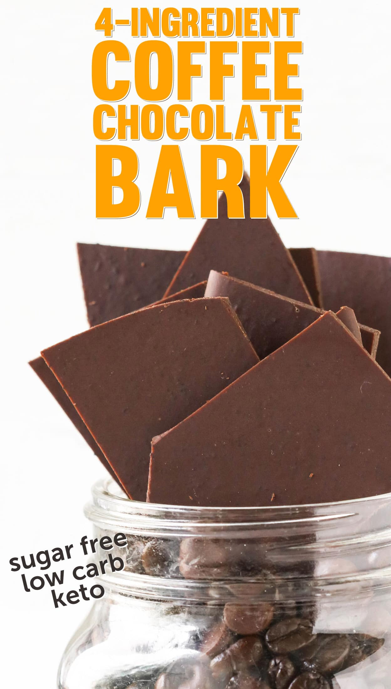 Easy Healthy Coffee Chocolate Bark Candy (sugar free, low carb, keto)