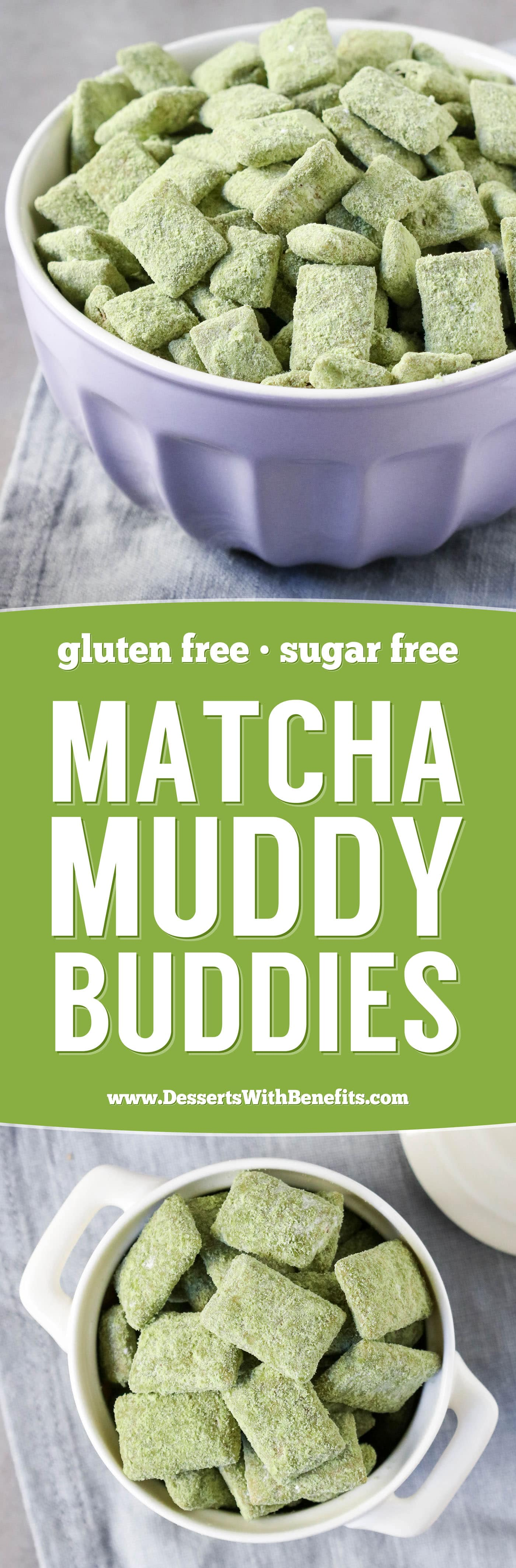 These Matcha Green Tea Muddy Buddies (Puppy Chow recipe) are the perfect, crunchy snack to satisfy the snack monster in you! Easy, no-bake, healthy, high protein, high fiber, and sugar free too.