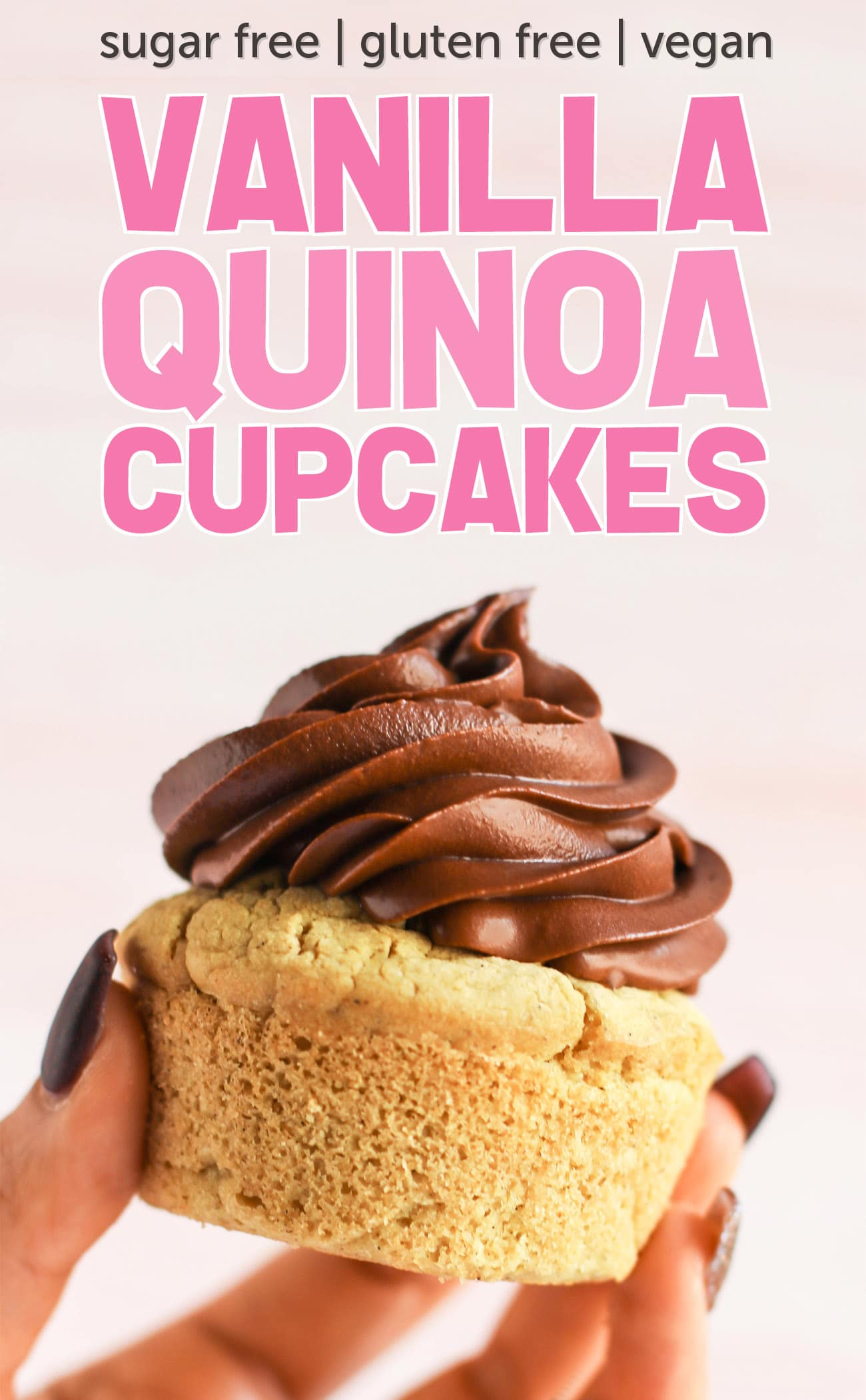 These Healthy Vanilla Quinoa Cupcakes are fluffy, springy, and moist! Top them with a healthy frosting and you've got the most nutritious, guilt-free treat! Made with quinoa flour, sorghum flour, coconut yogurt, and coconut milk, so they're gluten free, dairy free, vegan, and sugar free!