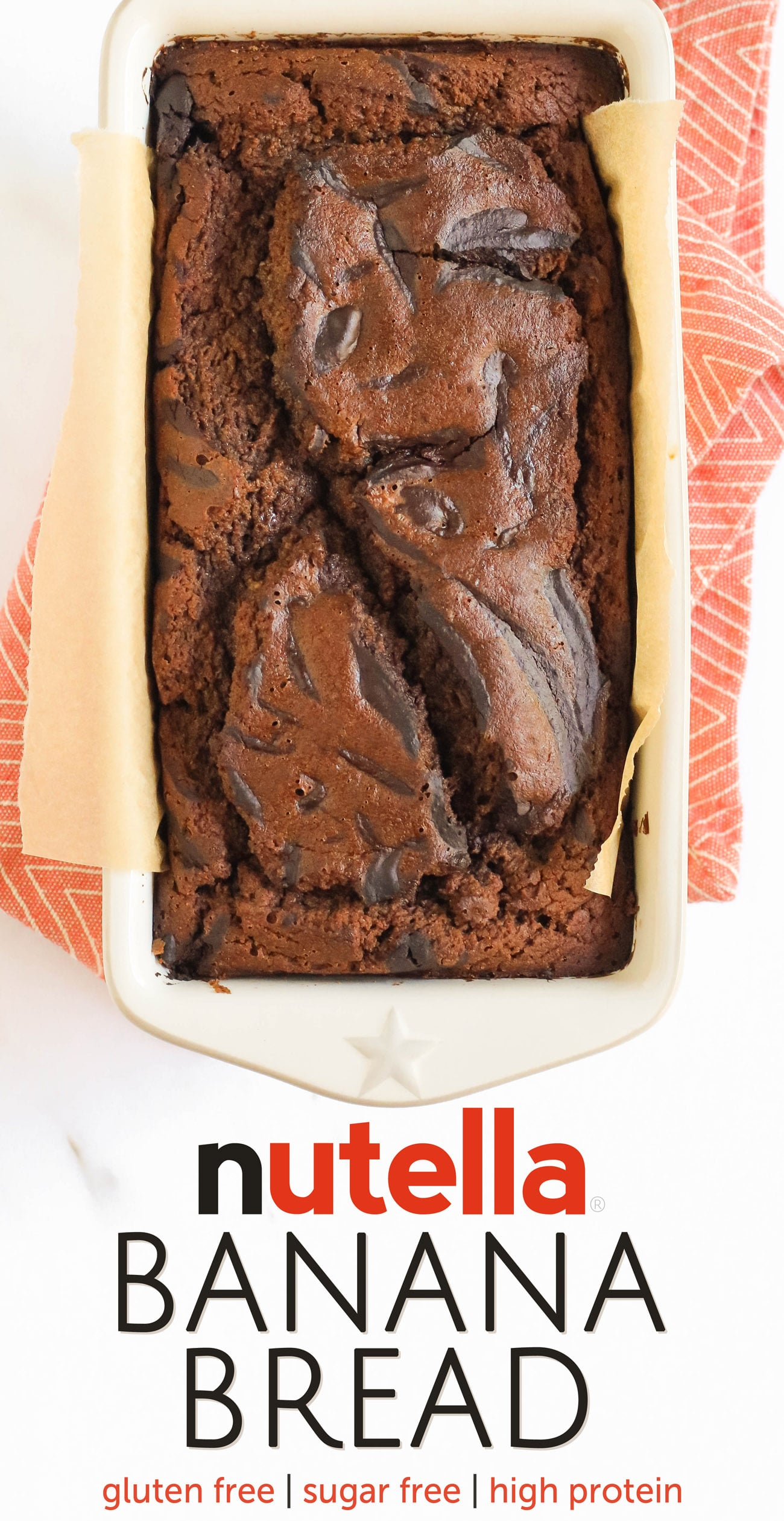 This Nutella Banana Bread is so moist, fluffy, springy, and chocolatey! It doesn't taste healthy, sugar free, gluten free, dairy free, high protein, or whole grain ONE BIT. It tastes like it's from a bakery! Made with low carb, paleo, and keto-friendly homemade Nutella!