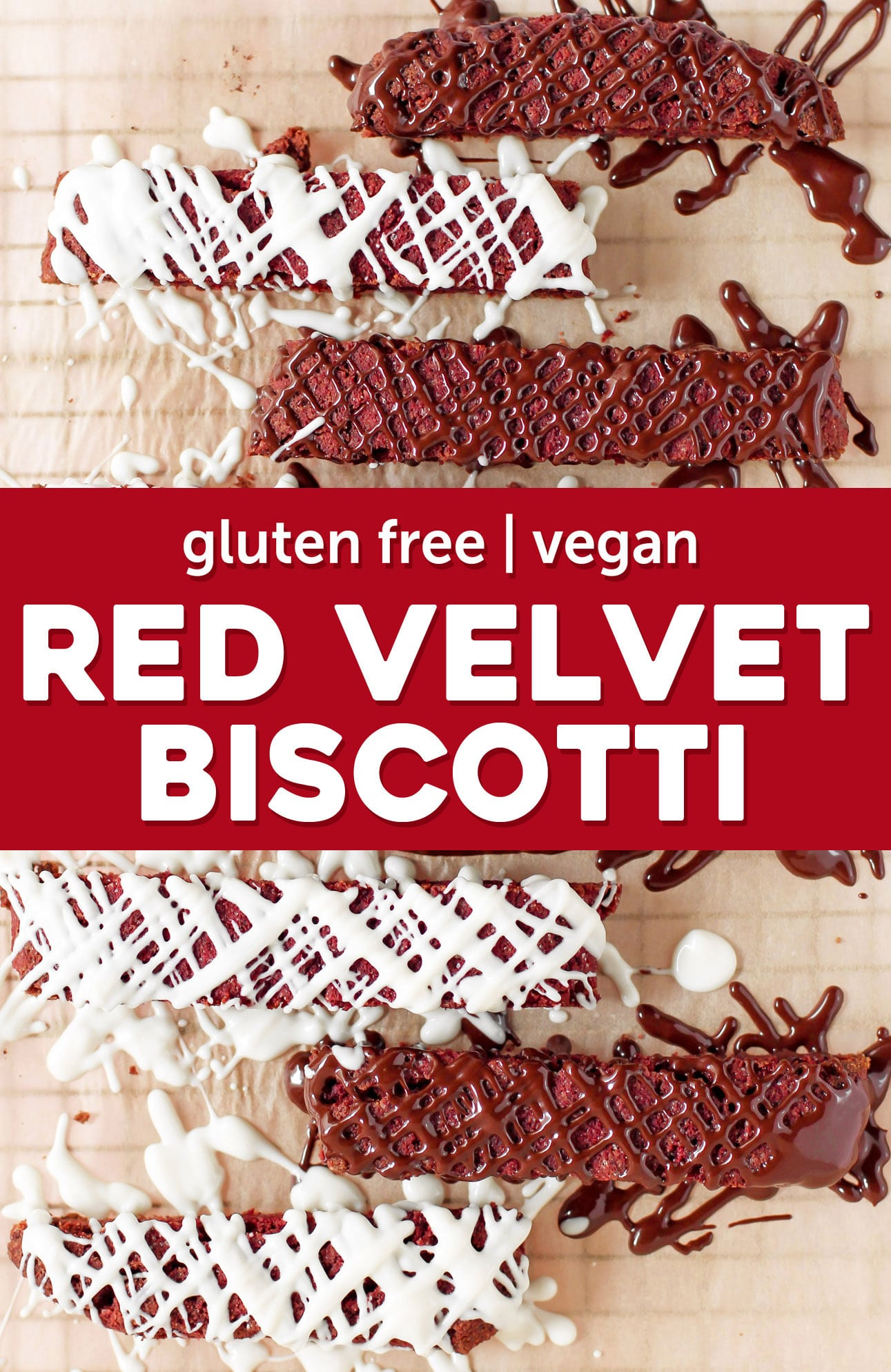 This NATURALLY RED Red Velvet Biscotti is crunchy, sweet, and drizzled with chocolate. You'd never know it's sugar free, gluten free, dairy free, and vegan! Instead of flour, we use almond meal. Instead of butter (and to add color), we use beets. Instead of eggs, we use ground flaxseed meal!