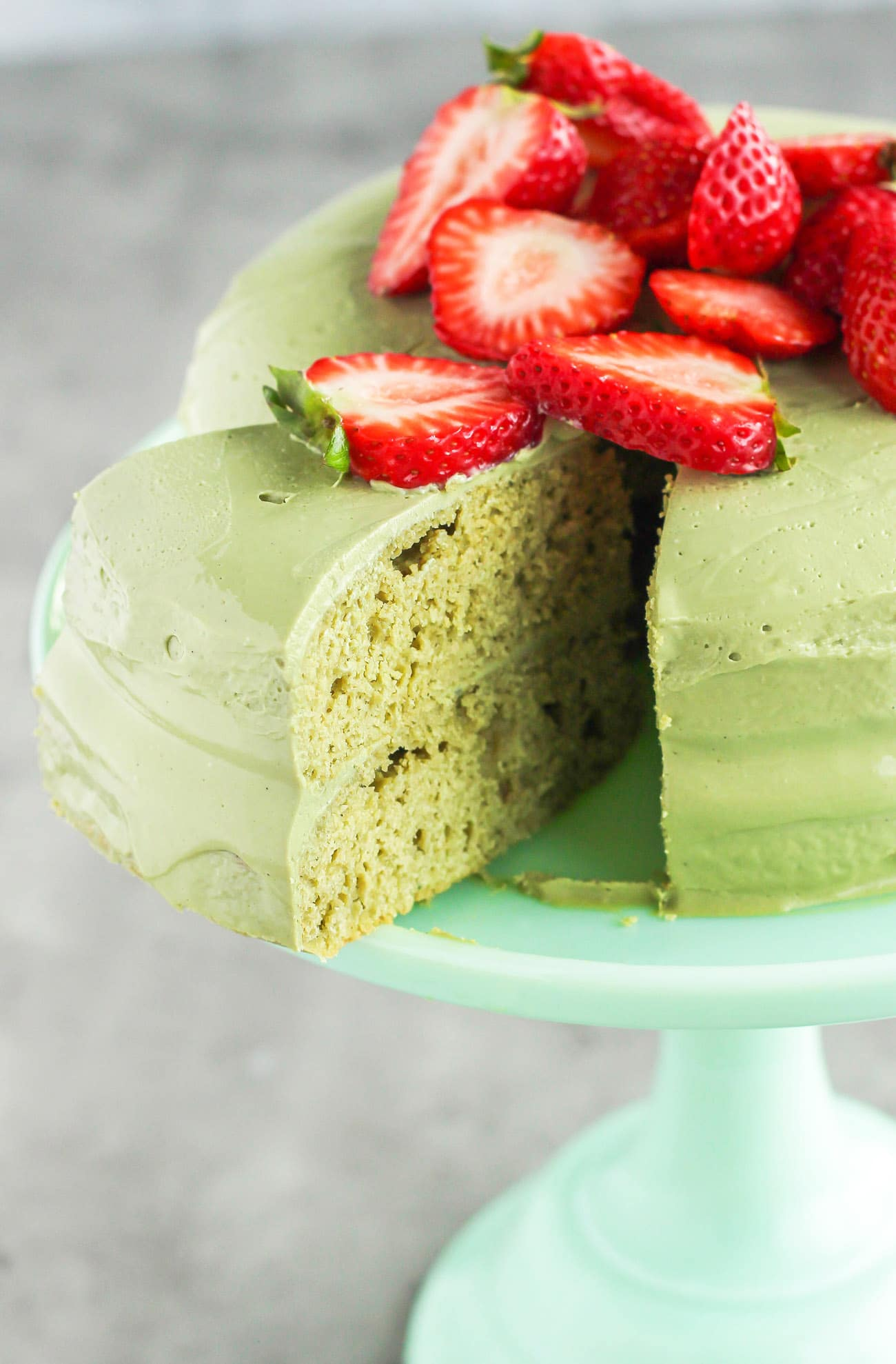 Healthy Matcha Cake with Matcha Green Tea Frosting