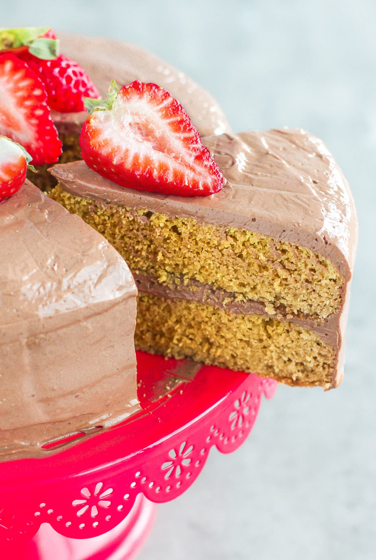 Healthy Yellow Cake with Chocolate Frosting