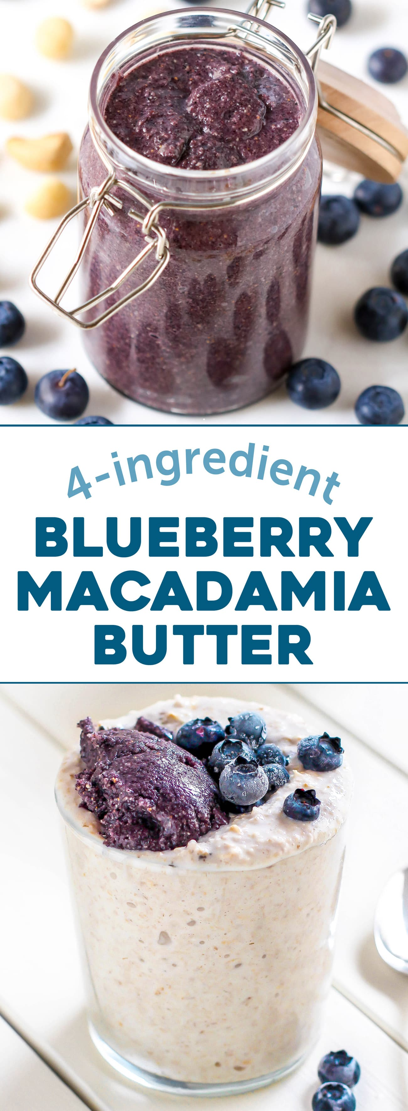 Easy healthy 4-ingredient Blueberry Macadamia Butter