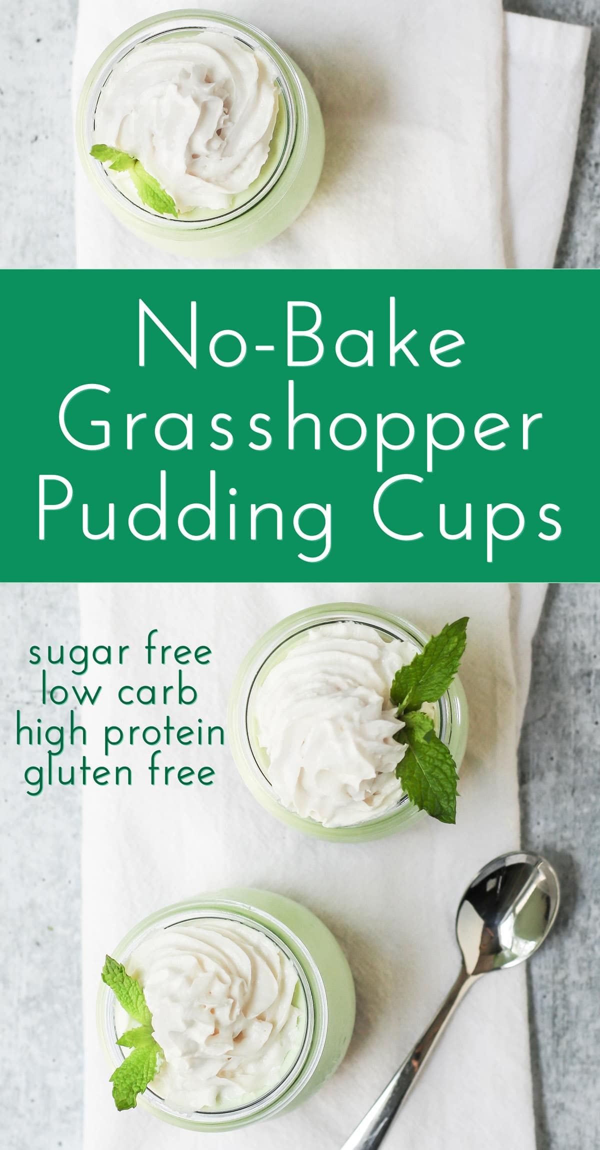 Healthy Easy No-Bake Grasshopper Pudding Cups