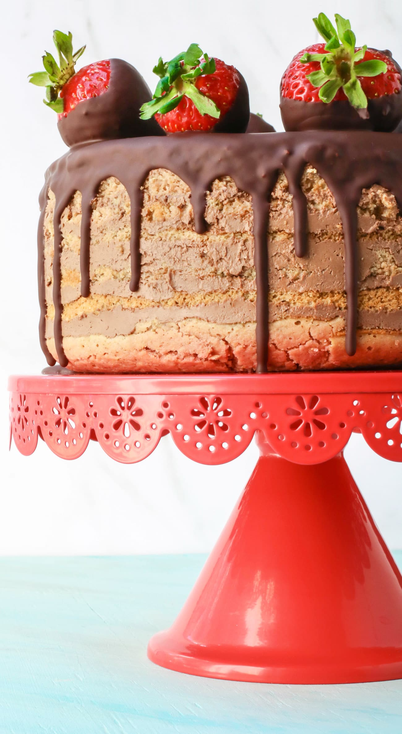 Seven-Layer Chocolate-Covered Strawberry Cake (sugar free, gluten free)