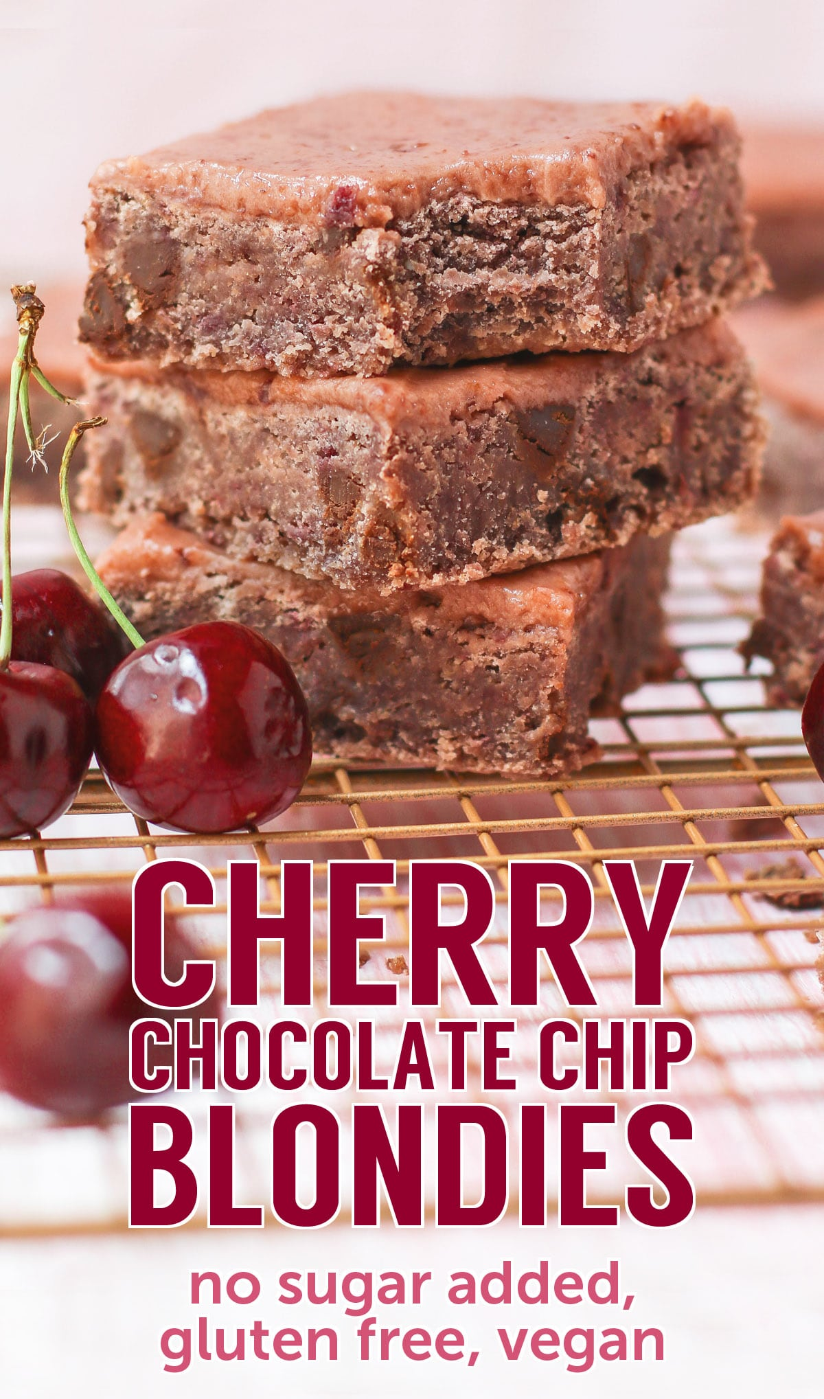 These healthy Cherry Chocolate Chip Blondies are dense, fudgy, and packed with chocolate chips! You'd never know they're made without any added sugar, butter, or flour! Oh yes, these are sugar free, gluten free, dairy free, and vegan.