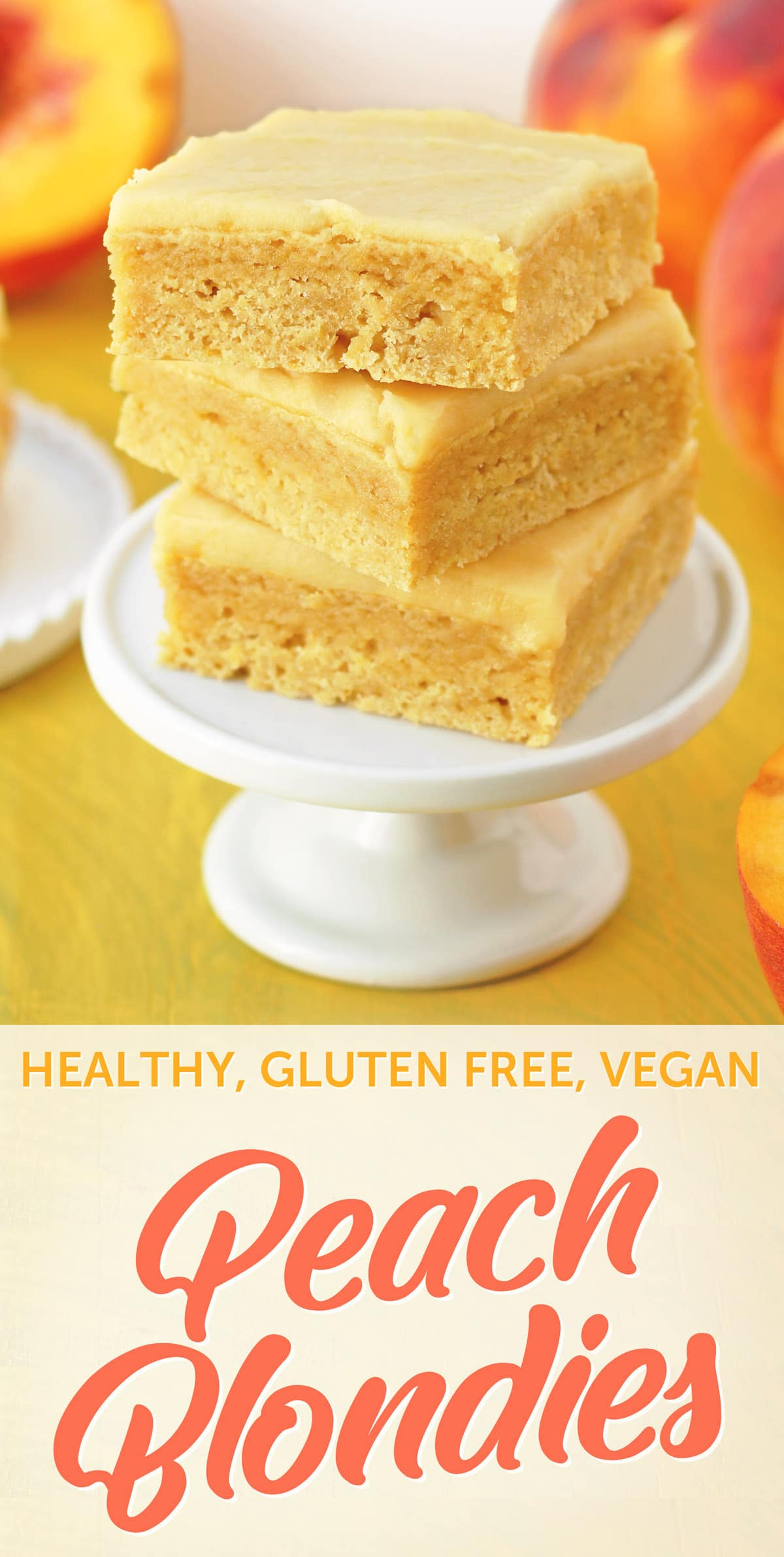 Gluten Free Vegan Lemon Peach Blondies